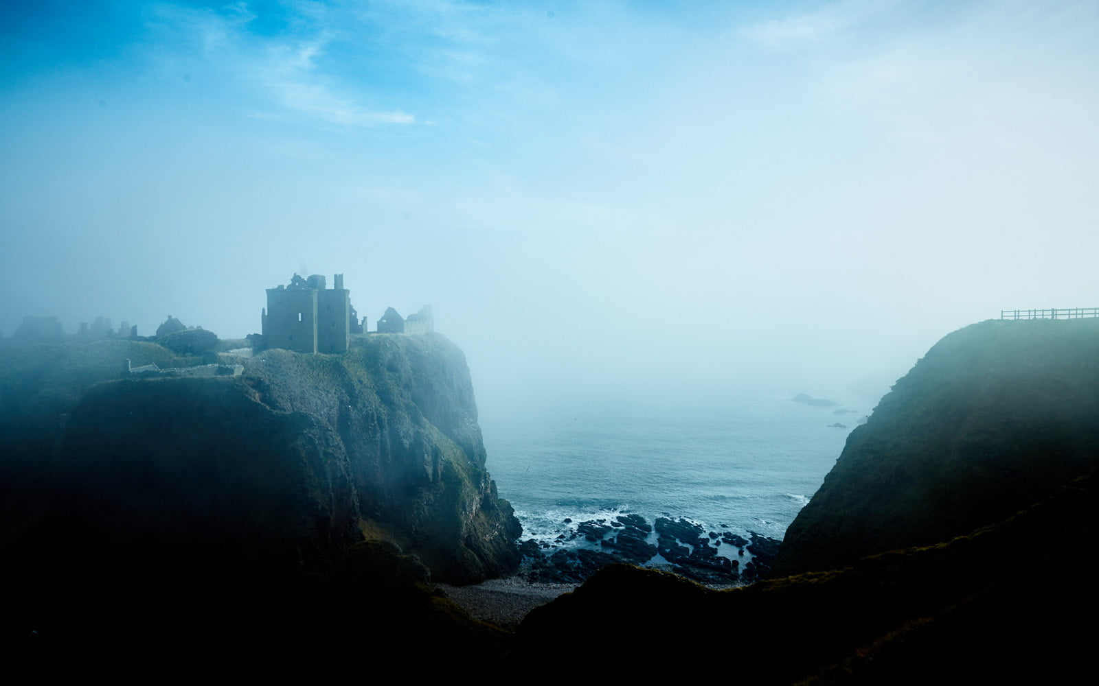 Derelict castle in Scotland with sea mist - UK Photographer is Faceiro//Chris Underwood