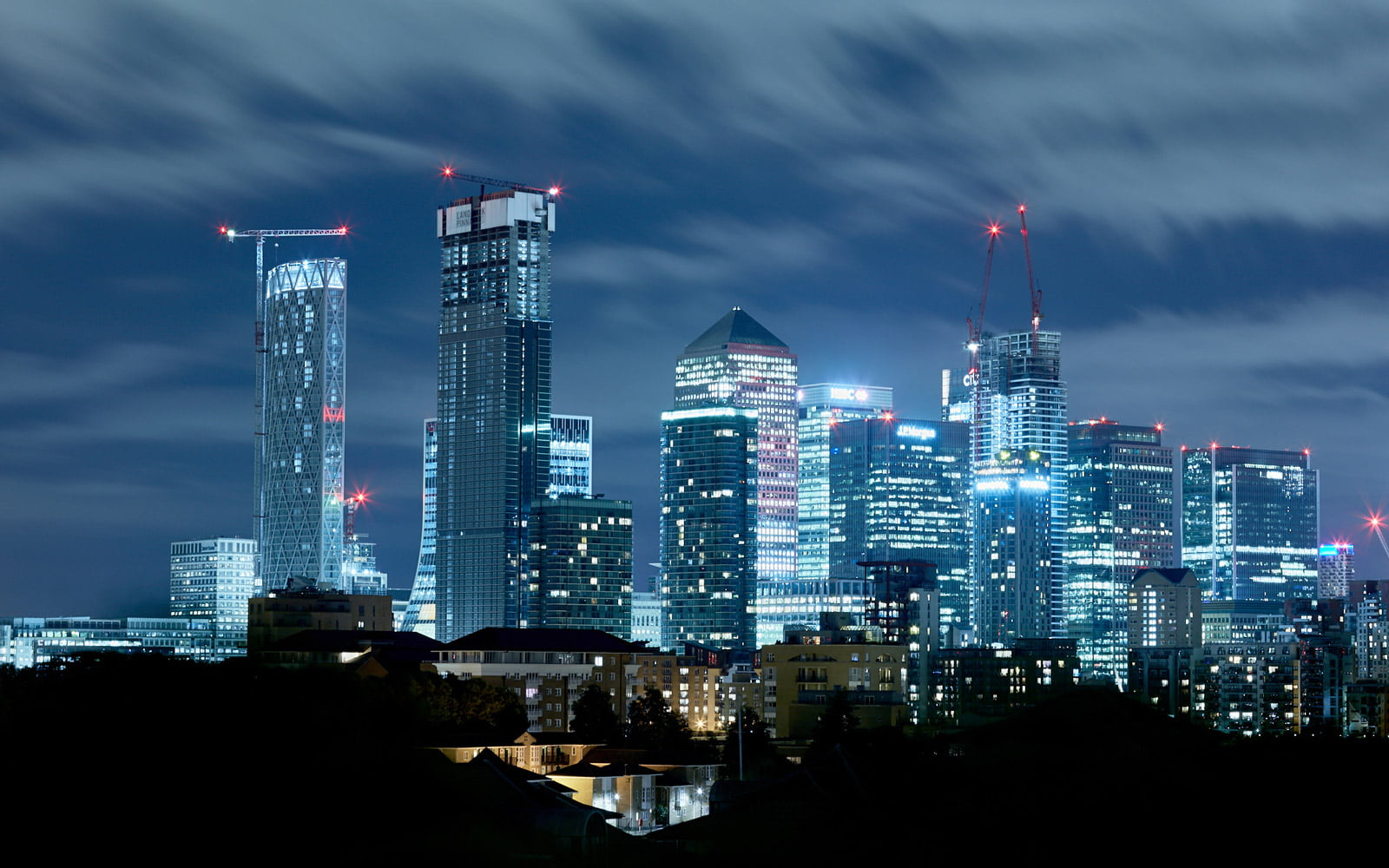 A stunning cityscape image of London's financial district at night. Photographed by Faceiro//Chris Underwood Photography